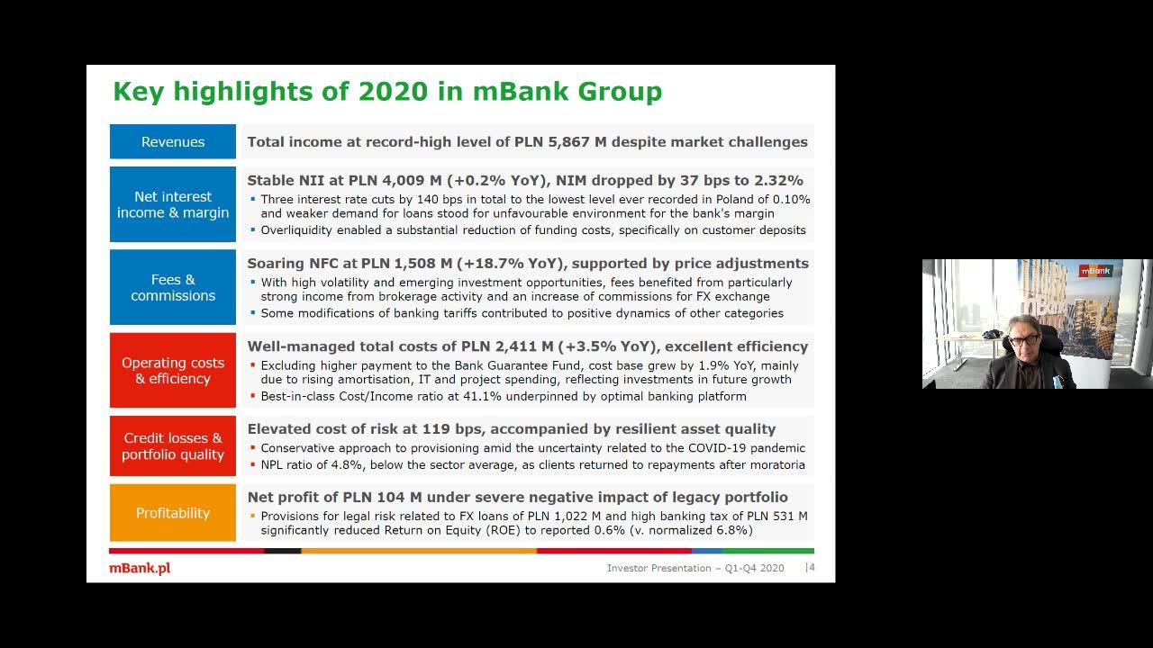 Wyniki mBanku po IV kwartale 2020 - retransmisja