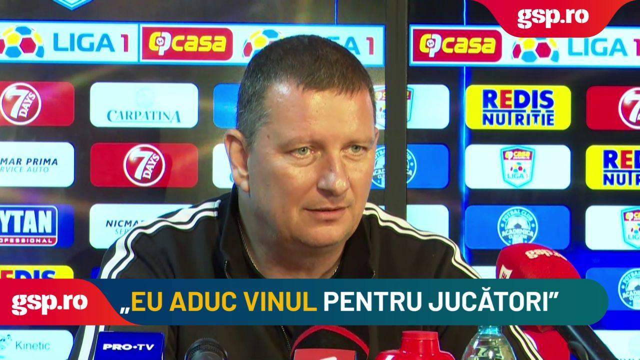 """Ionuț Chirilă: """"Nu sunt de acord ca jucătorii mei să bea vin vărsat. Nu știu ce conține"""""""